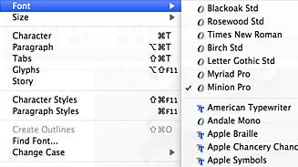 Недавно используемые шрифты