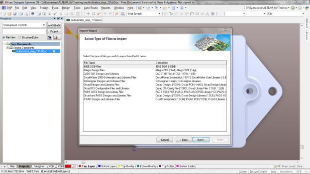 ...(Import Wizard) позволяет импортировать схемы, платы, библиотеки, выполненные с помощью систем P-CAD, OrCAD, PADs...